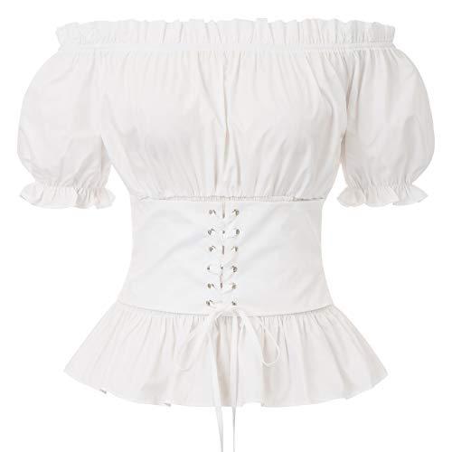 SARLET DARKNESS - Blusa de manga corta para mujer, estilo vintage victoriano gótico Steampunk blanco L