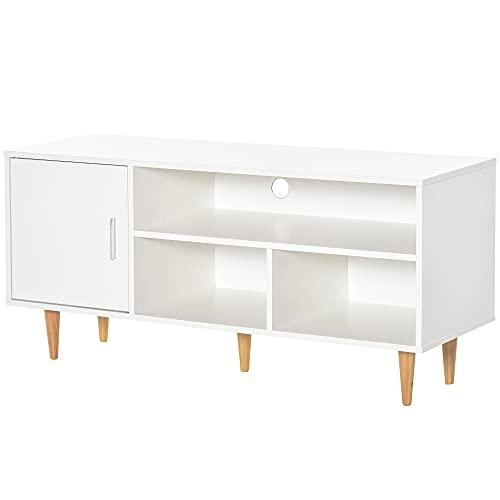 HOMCOM Mueble de TV para Televisores de hasta 60' Mesa de Salón Comedor Moderna con Armario y 3 Compartimentos 120x40x55 cm Blanco