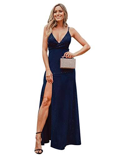 Ever-Pretty Abiti da Cerimonia Elegante Stile Impero Senza Maniche Scollo a V con Spacco Donna Blu Navy 36