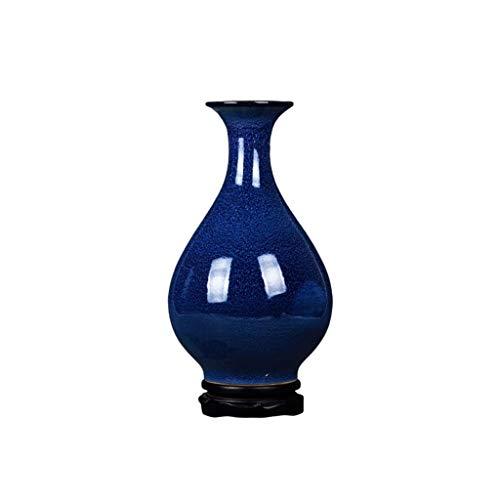 Florero de decoración del hogar Florero de cerámica del horno se volvió amarillo azul porcelana por un dormitorio, salón, oficina, regalo de boda chino decoración del hogar Jarrón de centros de mesa