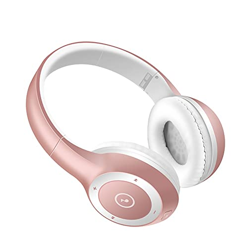 ZKK Auriculares Bluetooth inalámbricos, auriculares Bluetooth montados en la cabeza, tarjeta inalámbrica deportes Bluetooth auriculares para ciclismo, correr, deportes, fitness, música (color: rosa)