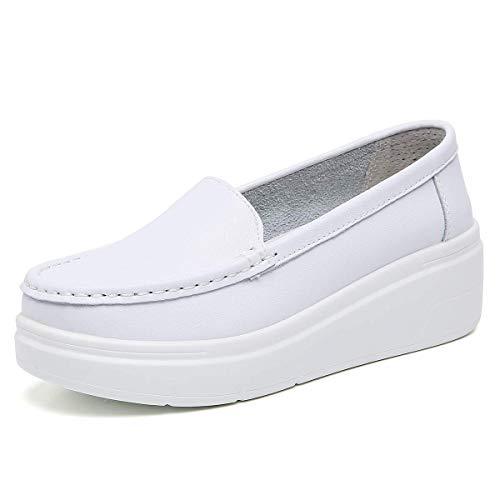 ZOVE Women's Lightweight Nursing Shoes Comfort Platform Food Service Shoe Restaurant Work Slip On Leather Loafers 855 White 40