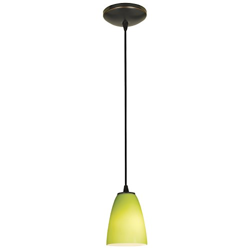 Flute - E26 LED Cord Pendant - Oil Rubbed Bronze Finish - Lime Green Glass Shade