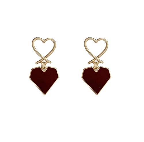 Orecchini pendenti romantici rossi del cuore del metallo di amore Orecchini pendenti coreani dell'amante dolce per il regalo dei monili delle ragazze delle donne 2 pezzi