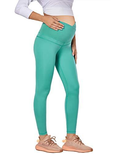 MOMANDA Leggins Premamá Embarazada Largos Mujer Lactancia Ropa Deporte Verde Azulado L