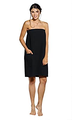 Turquaz Linen Lightweight Knee Length Spa/Bath Waffle Body Wrap with Adjustable Touch Fastener (Large, Black) from