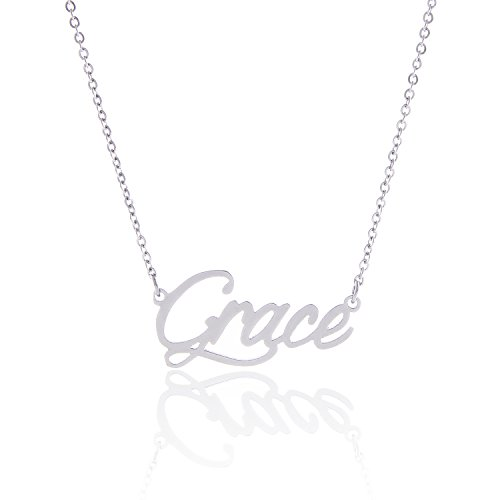 AOLO Stainless Steel Grace Pendant Name Necklace Silver