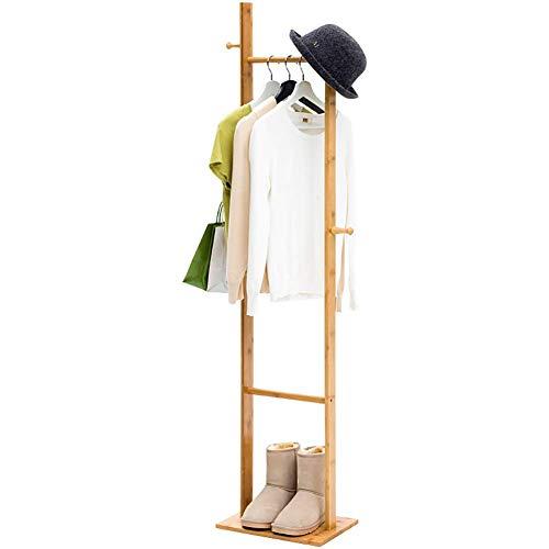PIVFEDQX Zapatero y Perchero de bambú 4 Ganchos con Compartimento para travesaños (Color: A, tamaño: 33x24x163cm)
