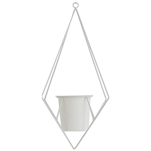【Roomnhome】 モノシリーズ 室内用の植木鉢ハンガー [直径]105㎜×[高さ]100㎜の植木鉢カバー付き 約48㎝チェーンは長さ調節可能 キレイな文体塗装仕上げのモダンなデザイン(Diamond/White)