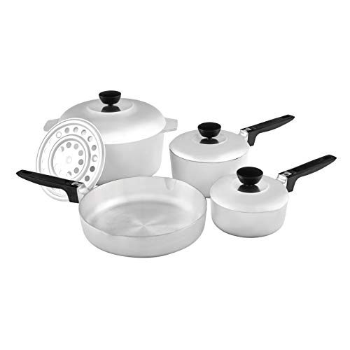 IMUSA USA Heavy Duty 8-Piece Cast Aluminum Cajun Cookware Set, Silver