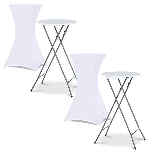 IDMarket - Lot de 2 Tables Hautes 105 cm Pliantes + 2 Housses Blanches
