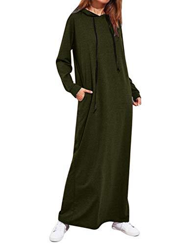 Style Dome Sweat-Shirt Robe à Capuche Femme Manches Longues Casual Pull Tops Robe Automne Hiver T-Shirt Hauts 1-Armée Verte XL