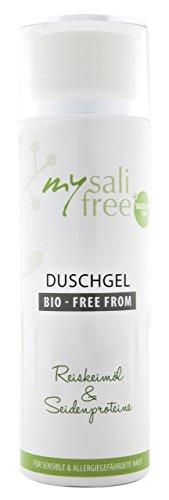 mysalifree BIO DUSCHGEL, mild reinigendes Naturkosmetik Duschgel für sensible Haut, mit Reiskeimöl, 200ml, 100% zertifizierte Biokosmetik, weltweit einzigartig, BIO + FREE FROM