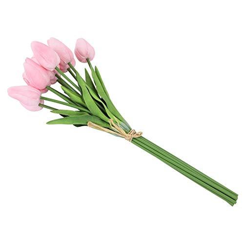 Tulipa artificial, 30 unidades Flor de tulipa artificial de toque real Flor falsa para decoração de casamento do quarto de casa Presente de Natal(pink)