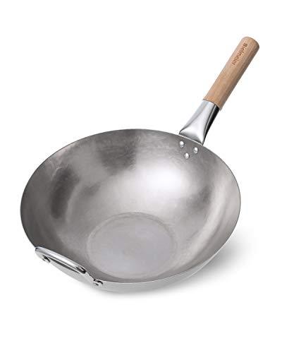 Bielmeier 13.4 inch Traditional Carbon Steel Pow Wok, Hand Hammered Woks and Stir Fry Pans, Flat Bottom Wok Pan with Wooden and Steel Helper Handle
