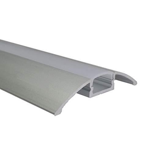 2m Alu-Leiste AUFBAU-Flach Aluminium Profil abgerundet mit opaler Abdeckung.Inkl. Zubehör. Größe B:56,70mm (Innen: 12,4mm) H: 8,47mm (2m)