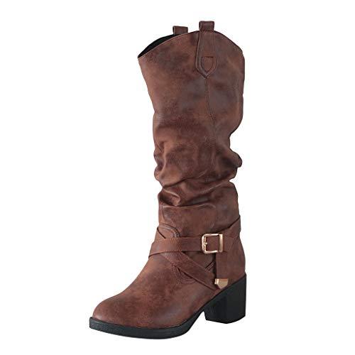 WUSIKY Stiefeletten Damen Bootsschuhe Boots Geschenk für Frauen Kniehoher Schnallenschuh aus Leder mit Kreuzriemen Cowboy Stiefel mit niedrigen Absätzen (Braun, 37 EU)