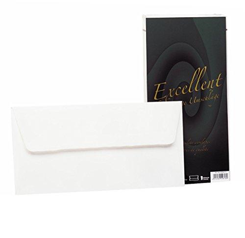Rössler 20261711 - Excellent - Briefumschlagpack DINlang, mit Seidenfutter, weiß