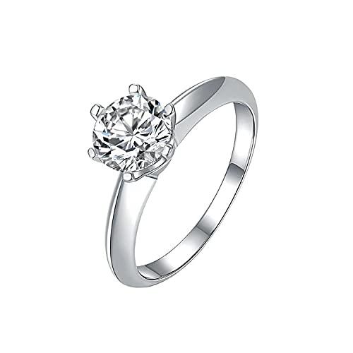 Stargems 2ct Moissanite 925er Sterlingsilber platiniert Klassischer Ring(VVS1,D-Farbe, runder Brillantschliff,4 Zubehör) für Frauen B4424-2ct-58 (18.5)