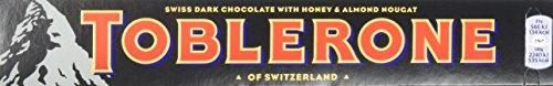 Toblerone dunkle Schokolade 5 x 100g, Feine Schweizer Zartbitterschokolade mit Honig- und Mandelnougat