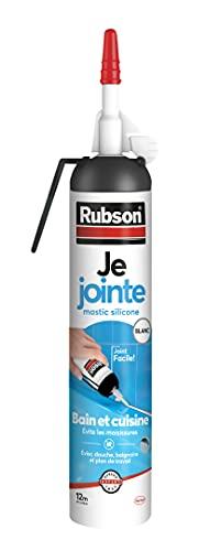 Rubson Je Jointe Mastic Blanc 200 ml, mastic étanche anti-moisissure en aérosol prêt à l'emploi, mastic silicone durable pour joints sanitaires spécial Bain & Cuisine