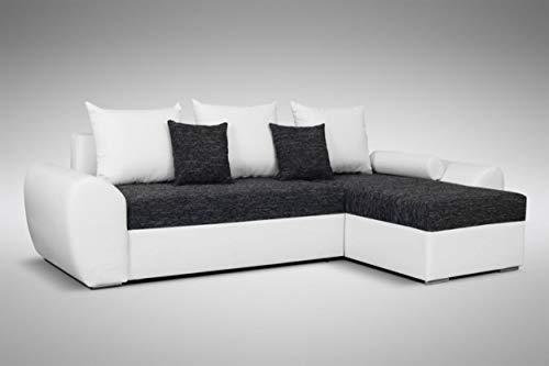 Küchen-Preisbombe Schlafsofa Sofa Couch Ecksofa Eckcouch schwarz/Weiss Schlaffunktion Ankara 1 L/R