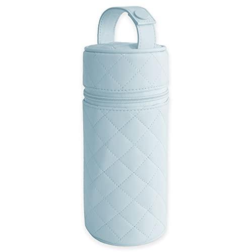 Baby Bites Duffi Termo porta biberon polipiel bebe. Bolsa termica caliente y frio. Funda isotermica portatil. Cremallera y asa. Limpieza facil. Coleccion Lux Azul (0558-12)