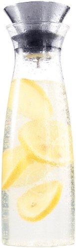 Cucina di Modena Karaffe: Formschöne Glaskaraffe mit integriertem Sieb, abnehmbarer Deckel, 1,2l (Karaffe mit Siebeinsatz)