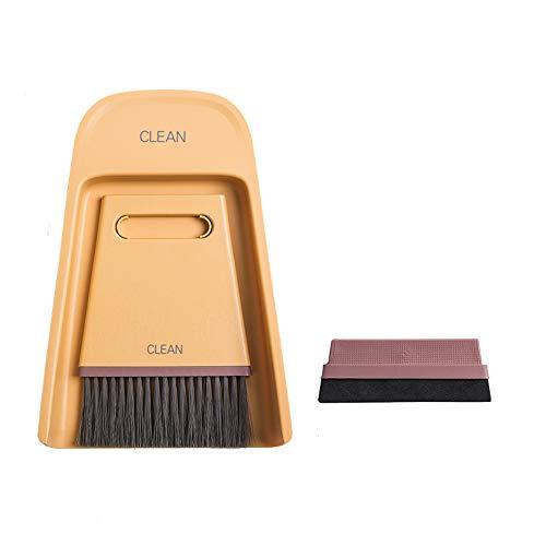 ZPFDM Mini-Besen- und Kehrschaufelset, Kleiner Handbesen und Kehrschaufel Winziges Kehrschaufel- und Bürstenset zum Reinigen der Tischarbeitsplatte Tastatur Haustiere Haare und kleine Unordnung