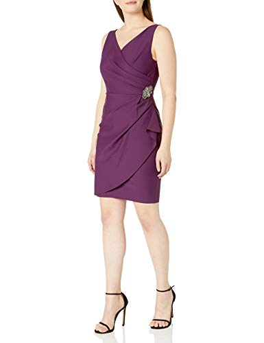 Alex Evenings Women's Slimming Short Ruched Dress with Ruffle (Petite and Regular)