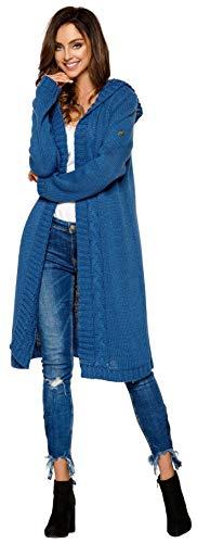 Lemoniade hochwertiger, modischer Cardigan mit Kapuze Knielang - Strickjacke Damen Jacke lang Mantel Strickmantel (LS213 900552 Jeans)