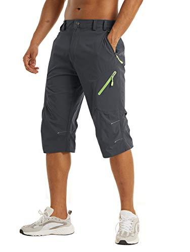 KEFITEVD Herren Bermuda Shorts 3/4 Wanderhose Kurz MTB Hose Schnelltrocknend Leicht Funktionshose Nylon Herrenhose Sommer Fahrradhose Männer Dunkelgrau 34