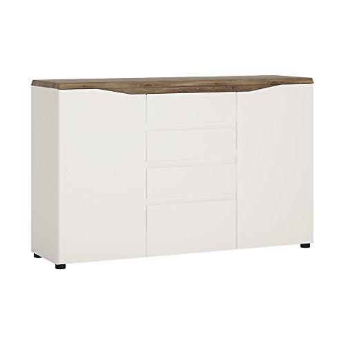 Möbel to go 4Schubladen Sideboard 2-türig, Holz, alpinweiß mit Hochglanz Fronten/Stirling Oak