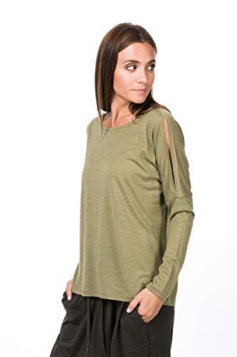 super.natural JONSER T-Shirt à Manches Longues en Laine mérinos. Femme, Mélange de Bambou, s