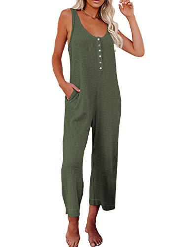 Eytino Mujeres Tie Dye Impresión Harem Mono Verano Cuello V Mameluco Una Pieza Mono Pijama S-XL - verde - Medium