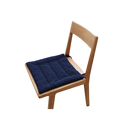 TONGTONG 1 cojín japonés de algodón y lino antideslizante, suave y cómodo, con lazos, 40 cm x 40 cm, azul marino
