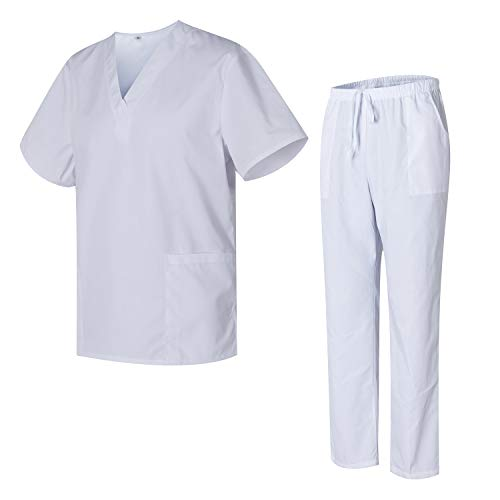 Uniformes Uno Pijamas Sanitarios Unisex con Casaca y Pantalones Limpiezas 3051 - L, Blanco