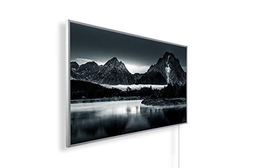 Könighaus - Calefacción por infrarrojos (calidad HD, con más de 200 imágenes de alta definición, con termostato, programa de 7 días, 800 W, marco blanco), color negro