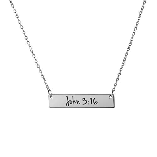 MEMGIFT Inspirational Gifts for Her Silver Bar Bible Verse Engraved Necklace Personalized Christmas Jewelry for Women