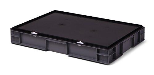 Aufbewahrungsbox - Transport-Stapelbox mit Verschlussdeckel, 600x400x86 mm, aus PP, 14,5 Liter (grau)