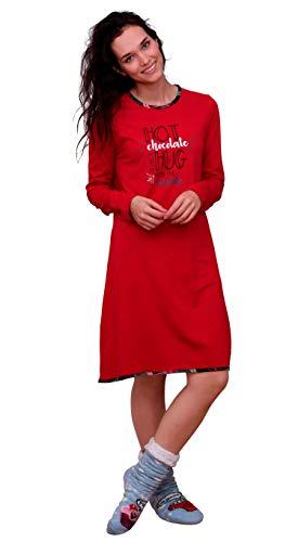 Damen Nachthemd Bigshirt von Normann - auch in Übergrössen bis Gr. 60/62-291 213 90 820, Farbe:rot, Größe2:48/50