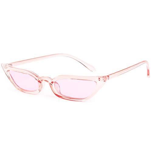 Livhò Trasparente Occhiali da Sole 2018 Donna Rotondi Vintage Grandi Occhi di Gatto Montatura (Rosa trasparente)