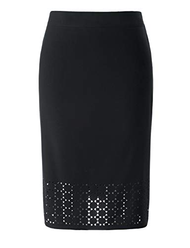 Chicwe Women's Plus Size Black Texture Stretch Pencil Skirt with Laser-Cut Black 3X
