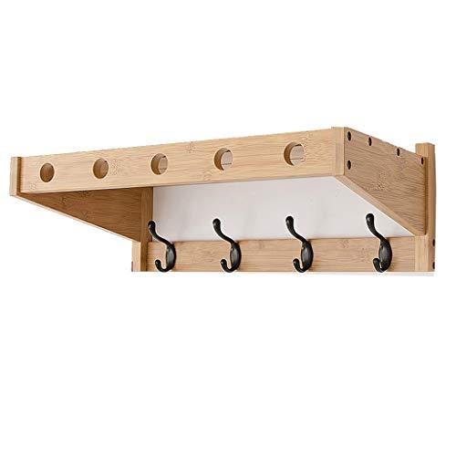 Wandgarderobe mit Ablage, Über Dem Türkleiderbügel, Holz Wandregal Wandhalterhaken mit 4 Metall Haken, für Den Eingang Küche Wandschrank Badezimmer Schränke