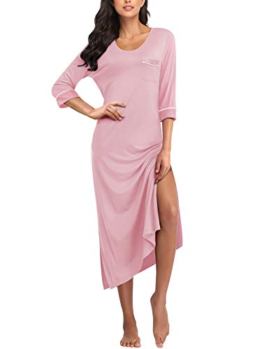 COLORFULLEAF Long Nightgowns for Women Full Length Nightdress Soft Knit Nightshirts with Pockets (Pink, M)