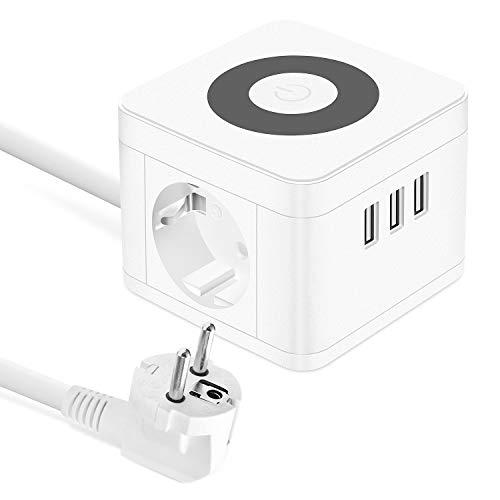 UOOGOU USB Regletas Enchufes, Cube Tomas con 3 USB Puertos y 2 Tomas, Alargador Ladron Enchufes Multiple con Lámpara de Noche Táctil para el Dormitorio, la Oficina, Blanco