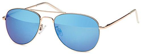 FEINZWIRN blau verspiegelte Sonnenbrille Pilotenbrille für schmale Köpfe und Gesichter mit Federbügeln + Brillenbeutel Fliegerbrille (blau)
