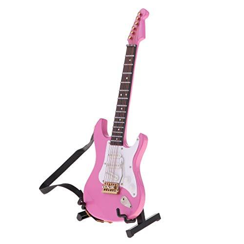 HomeDecTime Instrumento de Casa de Muñecas Modelo de Guitarra Eléctrica Acústica de Madera en Miniatura 1/6 Rosa