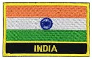 India Flag Sew-On Morale Patch/International Embroidered Travel Patches Collection (Indian Iron-on w/Words, 2