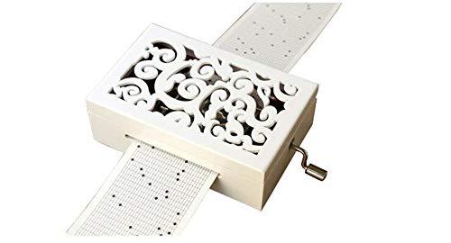 Cuzit Make Your Own Music Box Kit de caja de música tallada mecanismo de madera caja musical manivela DIY Musicbox regalo 30 notas blanco